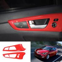 For Hyundai Veloster 2012-2017 ABS red auto Interior door handle cover trim 2pcs