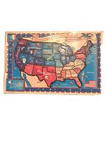 Wooden Puzzle Vtg Playskool US Map inlaid United States 1981 Used