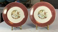 Vintage Pair SEBRING POTTERY Serenade Burgundy Bread Plates - TS-284C D