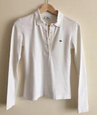 POLO LACOSTE LOGO bianco a maniche lunghe T Shirt Top Taglia 6-8