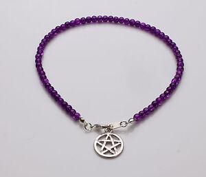 Purple Crackle Glass Bracelet with pentagram charm