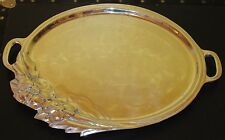 ~Large Vintage Heavy Aluminum or Armetale Tray with Flower Floral Design~