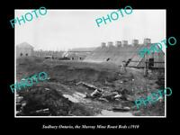 OLD LARGE HISTORIC PHOTO OF SUDBURY ONTARIO, VIEW OF THE MURRAY MINE c1910 1