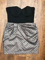 LIPSY Strapless Bandeau / Bustier Style Dress UK 10 Black & Beige with Net/Mesh
