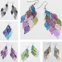 Rainbow Color Leaf Dangle Earrings Women Statement Stud Leaves Ear Stud Earrings
