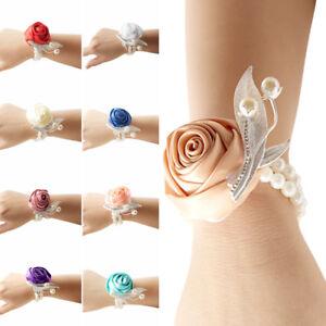 1x Women Wedding Bridal Wrist Corsage Bracelet Bridesmaid Hand Flower Party Gift