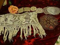 fait main , ancien  anges sur filet ,napperons fil de lin inclusions =8piéces