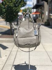 "COACH Platinum/Silver ""Kristin Pinnacle"" Woven Leather Satchel Bag  B1269-19747"