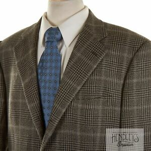 CORNELIANI Sport Coat 44 R in Taupe Black Gold Glen Plaid Wool-Alpaca-Silk ITALY