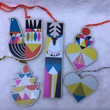 Lot Of 5 Colorful Wooden Display Ornaments Nordstrom  Hearts, Deer Candle, Bird