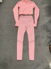 LADIES PEACHES GYM SET PINK WORKOUT LEGGINGS RUCHED BUM & ZIPPED TOP SIZE S