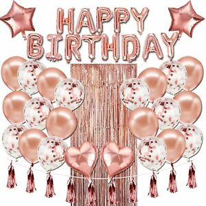 48 Pcs Happy Birthday Balloons Banner Rose Gold Foil Decorations Party Supplies