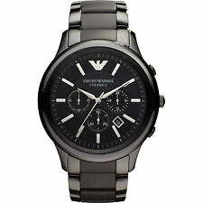NEW EMPORIO ARMANI AR1451 BLACK CERAMIC CHRONOGRAPH MEN'S WATCH - CERAMICA 1451