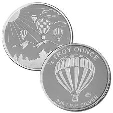 10 - 1/4 oz. 999 Fine Silver Rounds - Hot Air Balloon - Uncirculated
