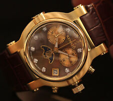 Renato Women's Beauty Limited Swiss Moon Phase Brown Leather Gold Tone Watch NEW