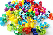 50pcs  Cute Pet Puppy cat Dog Hair Bows w/Rubber Bands Grooming Hair Accessories
