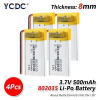 Rechargeable 802035 3.7V 500mAh Li-polymer Battery For Massager LED Lamp 4Pcs E