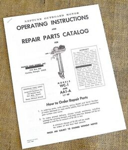 NEPTUNE MIGHTY MITE WC-1 & AA1-A OUTBOARD MANUAL INSTRUCTIONS PARTS
