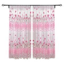 Rosa Tulpe Tulle Gardinen Fenster Vorhang Voile Türvorhang Dekoschal 200x100cm