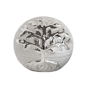 Silver Ornamental Tree of Life Ceramic Ball Ornament Sphere Home Decor 9.5cm