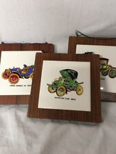 Set of 3 - Old Car Plaques Winston Car Model N Ford Rolls Royce VTG C-AF