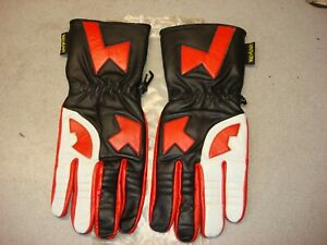 RED WHITE BLACK LEATHER ROAD RACE RIDING GLOVES XL VINTAGE MADE WITH KEVLAR