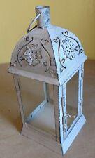 Lovely Garden Lantern or Terrarium White Metal Frame Victorian Style  NEW