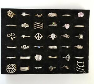 Vintage Now Sterling Silver Ring Lot 36 Various Sizes Stones Designs Not Scrap ~