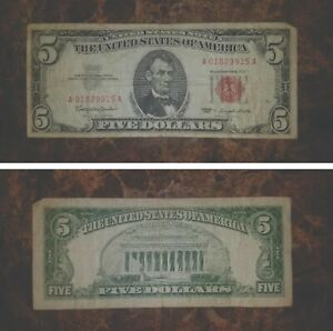 1963 - $5 Dollar UNITED STATES NOTE - Red Seal - A