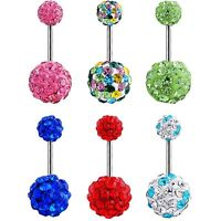 Rhinestone Barbell Belly Button Piercing Body Jewelry Navel Ring Crystal Ball