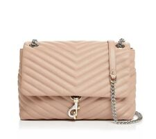 NWT Rebecca Minkoff Edie Flap Leather Chain Shoulder Bag Doe Pink $300 AUTHENTIC