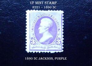 Great United States VF Mint Stamp,  Scott  #221 – 1890 3c Jackson, purple