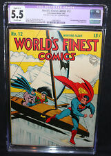 World's Finest Comics #12 - Superman, Batman, & Robin - CGC Restored 5.5 - 1943