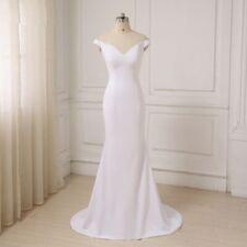 Simple Long Wedding Dresses Mermaid Sexy Deep V-neck Customized Color