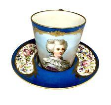 Sevres Porcelain Chateaux de Dreux Porcelain Cup and Saucer circa 1850