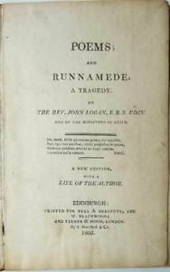Poems, Hymns and Runnamede (Runnymede), Magna Carta, James Logan 1805