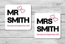 Pair of Personalised Mr & Mrs Wedding Drink Coasters Wedding Day Gift, Present