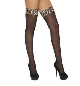 Sheer Leopard Print Lace Top Thigh Highs Animal Hosiery Nylons Stockings 1787