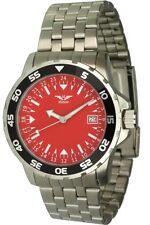 Minoir Uhren Modell Rennes silber rot  24 Stundenuhr Quarzuhr Herrenuhr