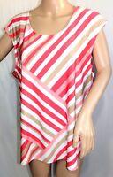 N Touch Women Plus Size 1x 2x 3x Coral Pink White Swing Top Blouse Shirt Cami