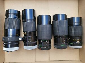 5x Untested Unchecked Canon Vintage Camera Lens FD 200mm 300mm 70-210mm BL86