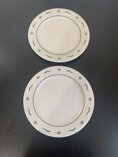 """Longaberger Pottery Woven Traditions Blue Set of 2 Dinner Plates 10"""" Usa"""