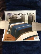 King Super Soft Flannel Blanket Comfy Warm Throw Cover Navy Blue Stripe Big New!