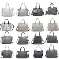 Ladies Fashion Designer PU Leather Handbag Tote Shoulder Grey Bag Women