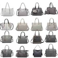 Las Fashion Designer Pu Leather Handbag Tote Shoulder Gray Bag Women