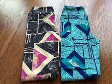 BRAND NEW LULAROE SIZE TWEEN LOT OF TWO LEGGINGS GIRLS KIDS BLUE BLACK