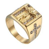 Modeschmuck Gold Ringe für Frauen Runde Kristall Jesus Männer Ring Kreuz U5B5