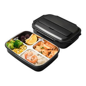Stainless Steel Lunch Box w/ Chopsticks Spoon Portable Leak-proof Bento Boxes