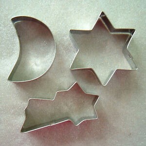 Bonita Christmas Cookie Biscuit Cutter Set of 3, 6 pt Star, Shooting Star, Moon