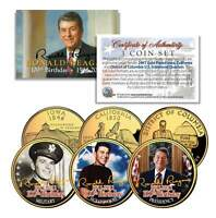 RONALD REAGAN *100th Birthday* 24K Gold Plated Quarters 3-Coin Set Life & Times